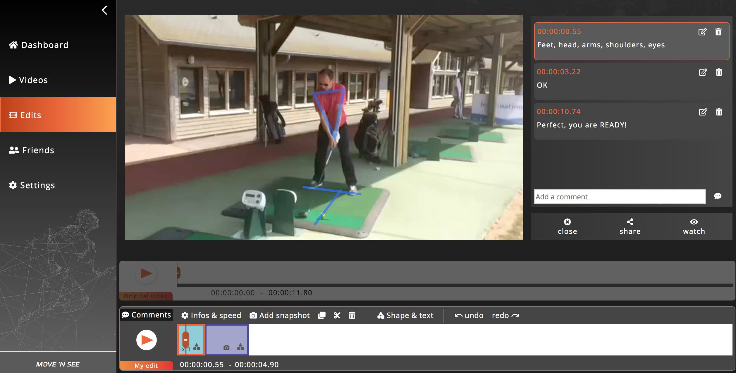 sport on movetube app Golf